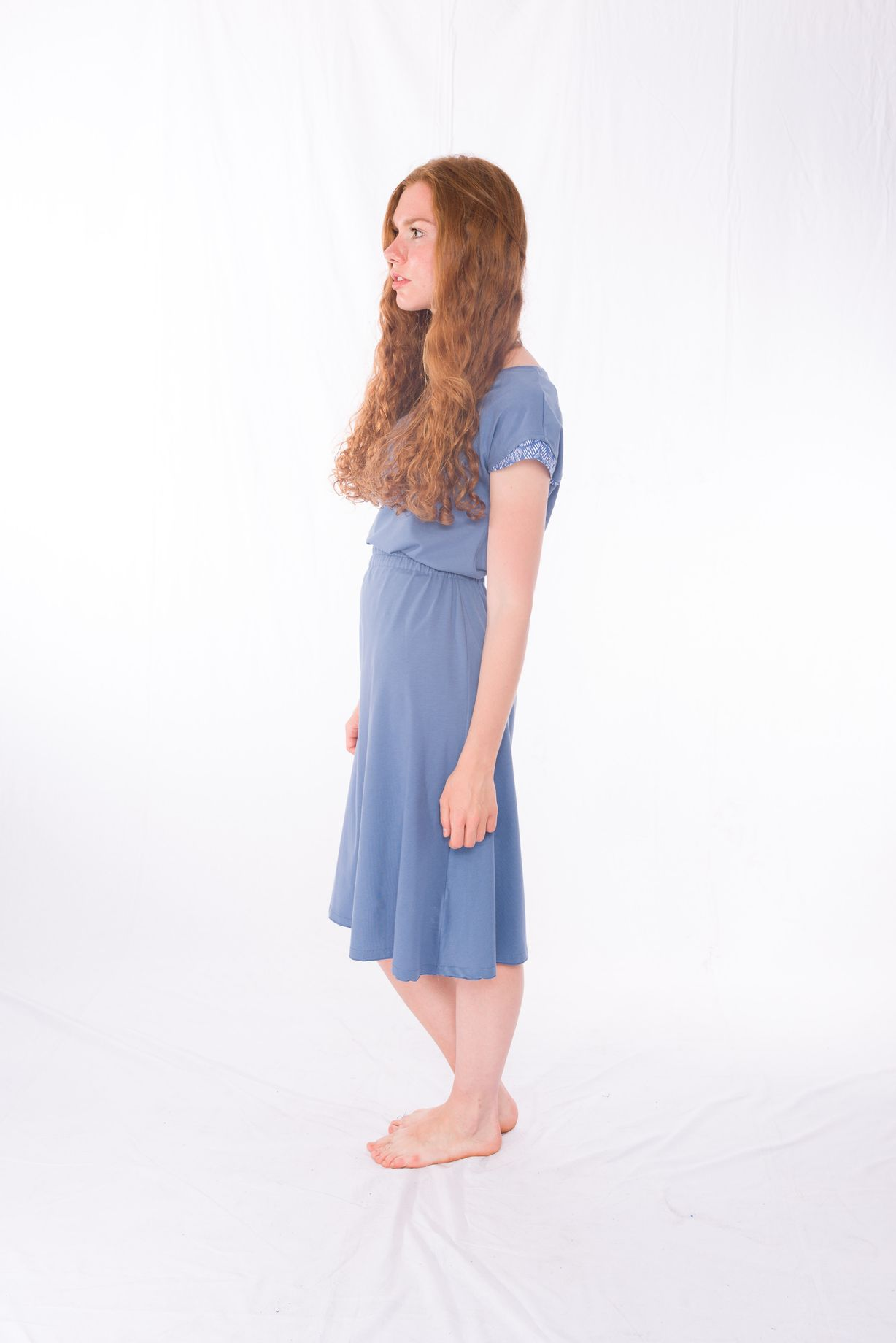 Shirt Blueleaves _ Jersey-Rock Midi Blue